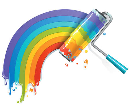 Rainbow borstel Stock Illustratie