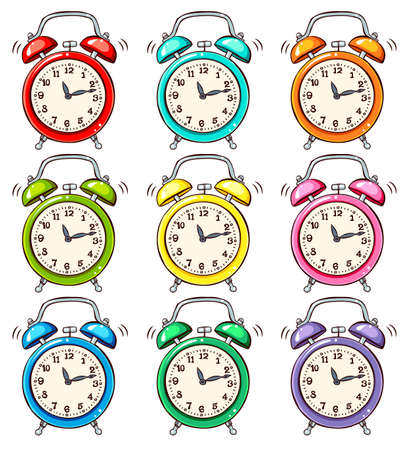 Set of colourful alarm clock Vector