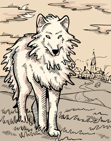 Mysterious wolf Vector