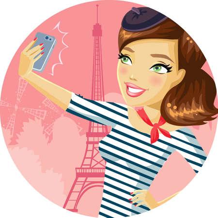 donna con telefono: Autoritratto a Parigi Vettoriali