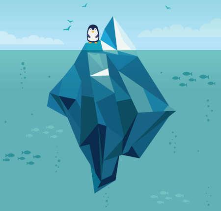 海の氷山  イラスト・ベクター素材