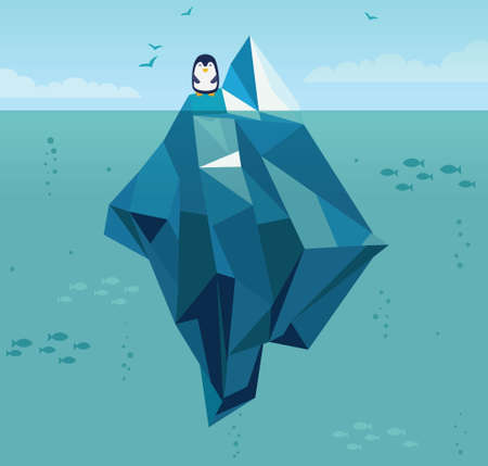 바다에서 빙산 일러스트