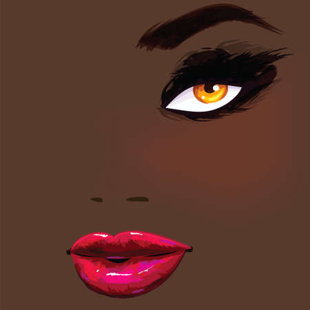 Beautiful african female portrait Vector