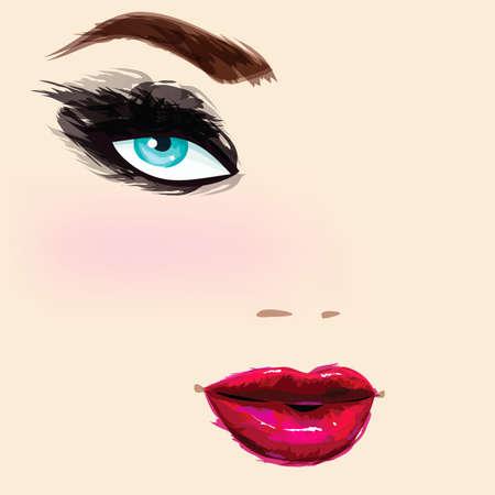 caucasian: Beautiful caucasian female portrait Illustration