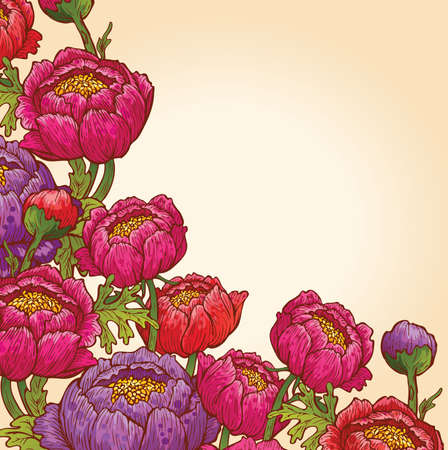 botanical drawing: Floral background
