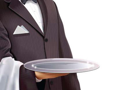 podnos: Číšník s prázdnou stříbrném podnosu Ilustrace