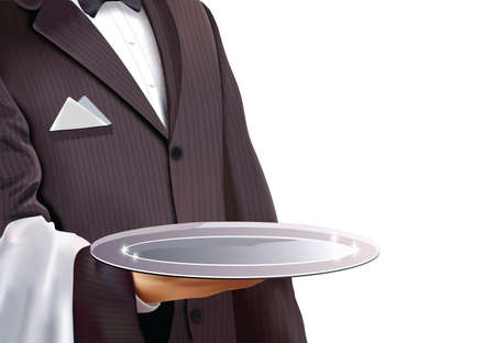restaurante: Empregado de mesa com a bandeja de prata vazia