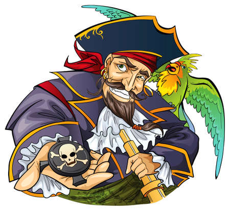 pirate cartoon: Pirate with parrot
