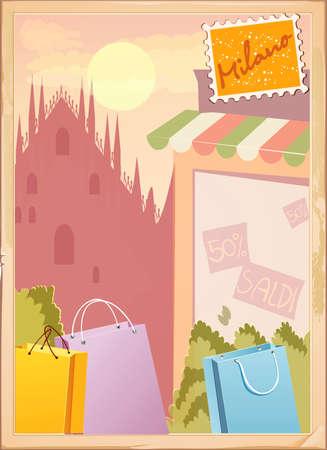 Milano postcard Illustration