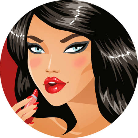 sexy girl cartoon: Sexy brunette applying red lipstic