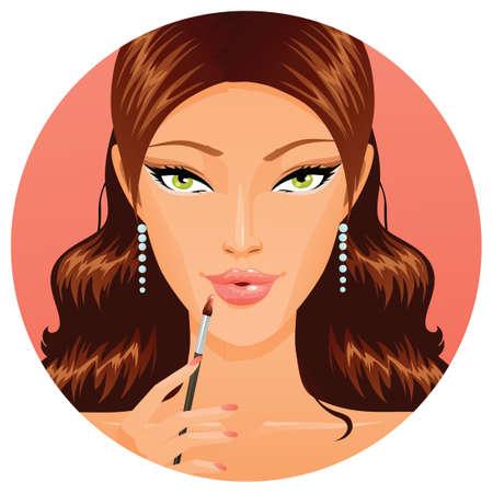 Beautiful woman applying lipgloss