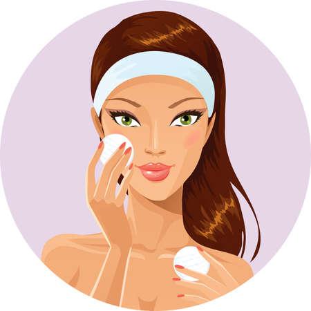 cintillos: Chica limpieza de la cara con un algod�n