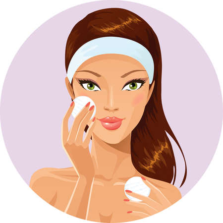headband: Girl cleaning her face with cotton pad Illustration