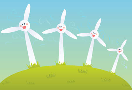 wind mills: Wind mill farm Illustration