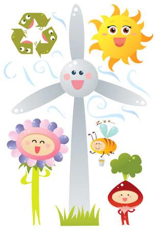 global warming: Eco symbols Illustration