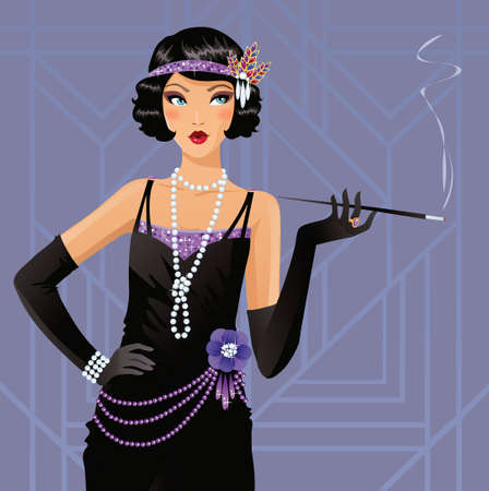 Cute flapper girl Stock Illustratie
