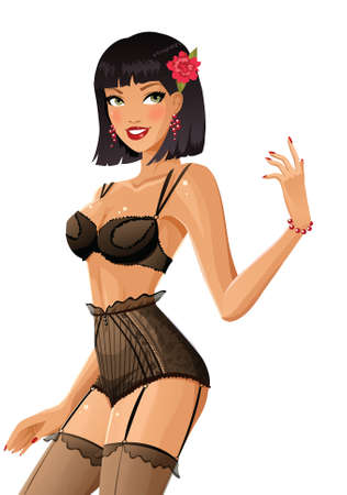sexy woman lingerie: Brunette in lingerie Illustration