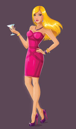 busty: Attractive blonde with martini Illustration