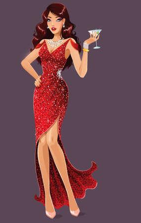 Aantrekkelijke brunette met martini Stock Illustratie