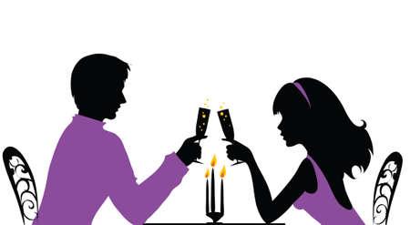 Paar met een romantisch diner Stock Illustratie