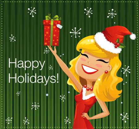 santa helper: Santa Helper with gifts
