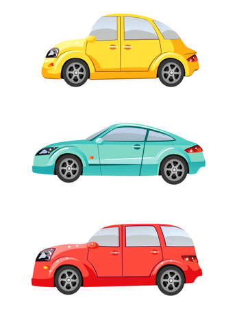 Set of cute toy cars