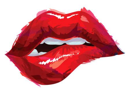 donna sexy: Sexy labbra mordere Vettoriali