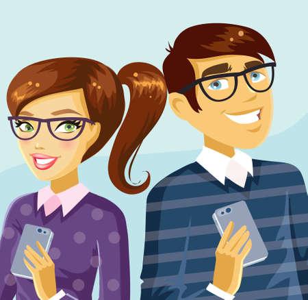 nerdy: Cute nerdy couple