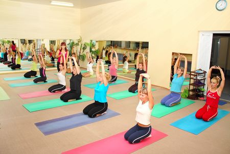 medium group: A group of women in the yoga masterclass Editorial