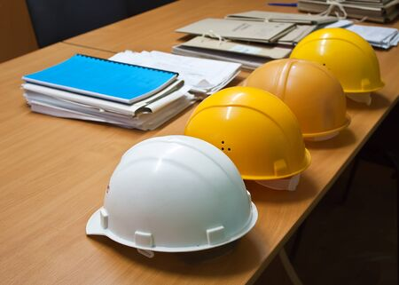 Building a helmet lying on the construction drawings