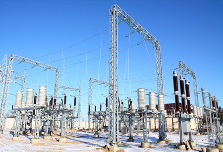 electric utility: High-voltage substation being built power plants in winter