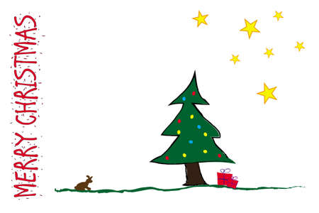 Funny Postcard for Christmas with Tree Gift Stars and Bunny Vector Illustration