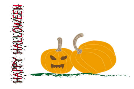 Halloween pumpkin with scary face on white Postcard Vector Illustration Çizim