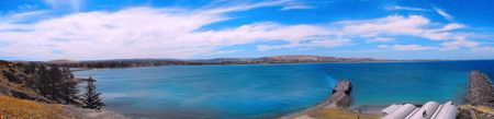 Ocean View from Granite Island to Victor Harbor Stock Photo
