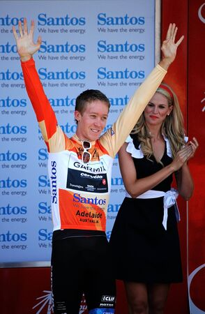 Cameron Meyer on the Podium at the end of stage 4, Tour Down Under Strathalbyn South Australia.21012011