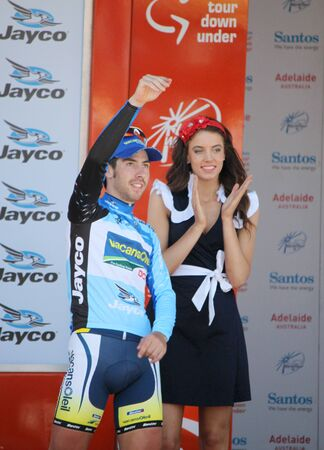Thomas de GENDT, on the Podium at the end of stage 4, Tour Down Under Strathalbyn South Australia.21012011