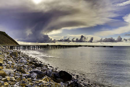 HDR, of Rapid Bay Jetty with storm clouds rolling in.