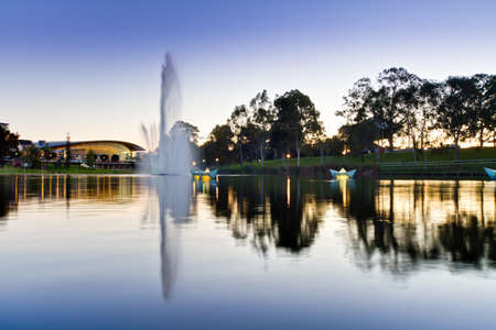 Torrens River & Water Fountain at Dusk HDR