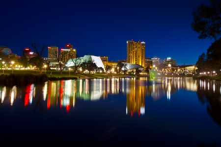 river water: Torrens River Adelaide South Australia, with reflection of city lights.