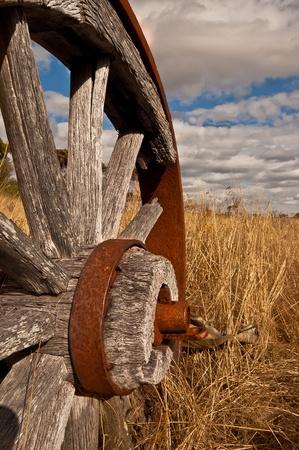 Close Up of Vintage Wagon Wheel. Stock Photo
