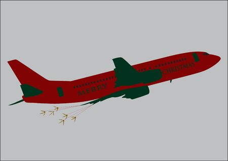Jet Plane in Christmas Colours.