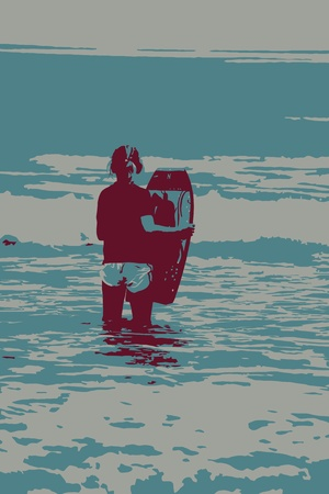 Young Girl With Bodyboard Vector