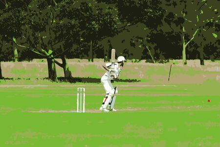 Batsman Hitting The Ball Vector
