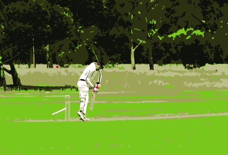 Batsman Getting Bowled Vector.