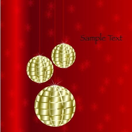 Christmas Baubles On Red Background Illustration