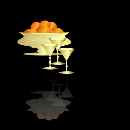 Gold Fruit Bowl   Glasses