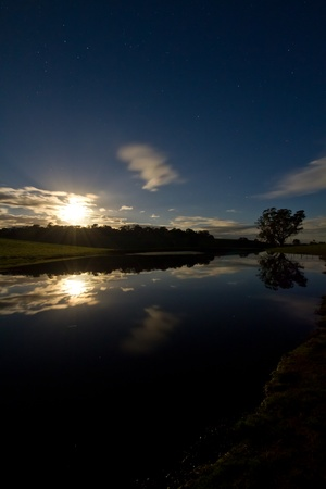River Sunset with Reflection Stock Photo