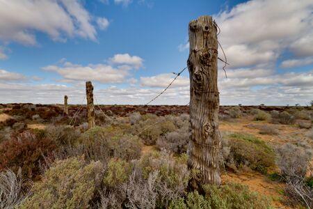 Abandonded Fence Line Murray Sunset National Park South Australia Stock Photo