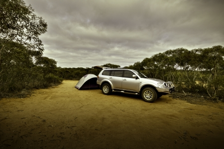 4X4 At Campsite Murray Sunset National Park South  Stock Photo