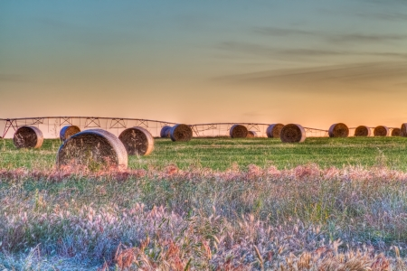 Hay Bales Evening Sky HDR Stock Photo
